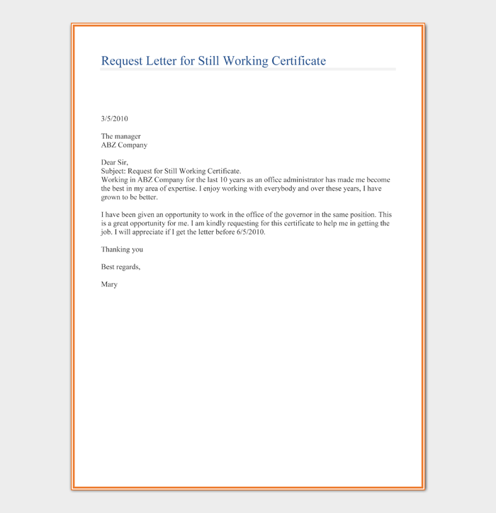 Request Letter for Still Working Certificate