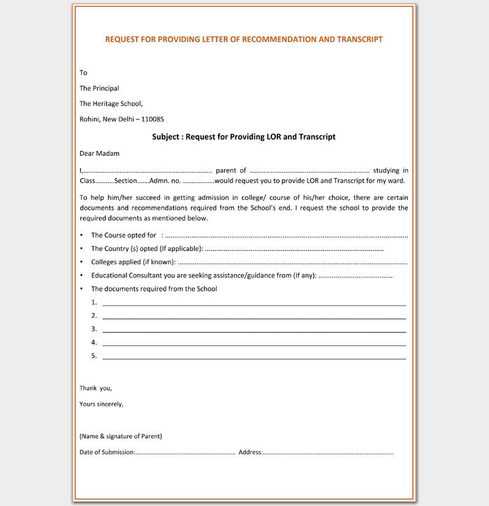 Request for Reccomendation for Transcript