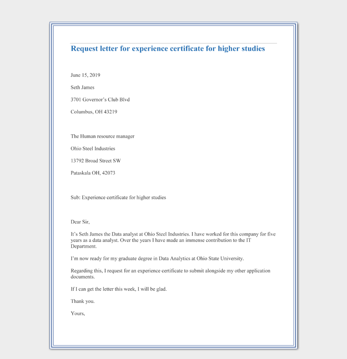 Request letter for experience certificate for higher studies