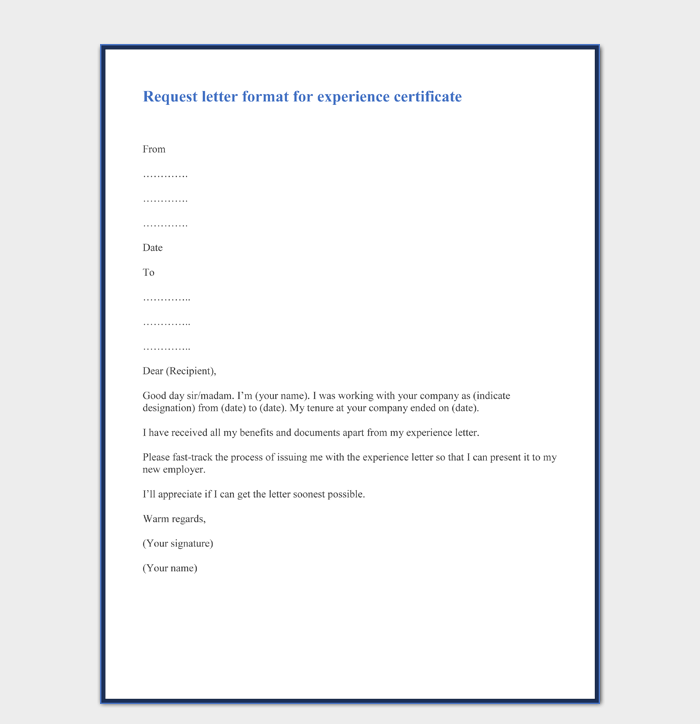 Request letter format for experience certificate