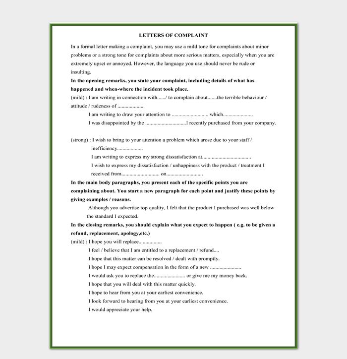 Restaurant Complaint Letter Word Document