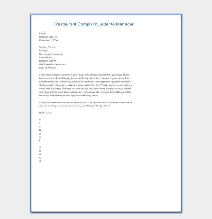 Hotel Complaint Letter Templates