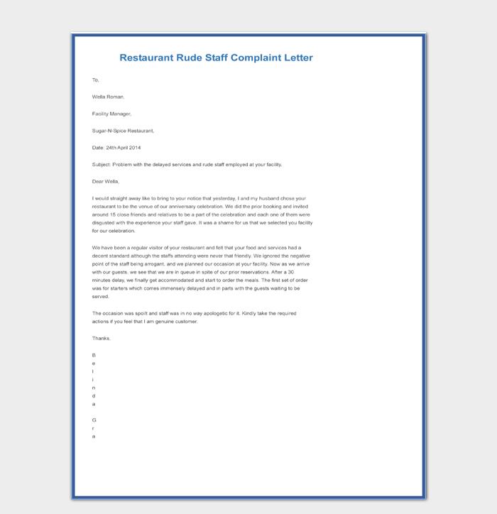 Restaurant Rude Staff Complaint Letter