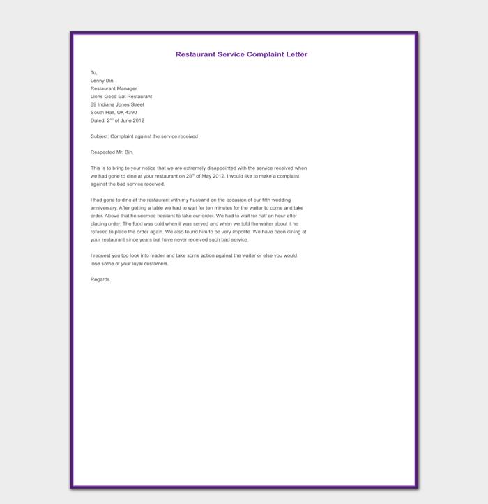 Restaurant Service Complaint Letter