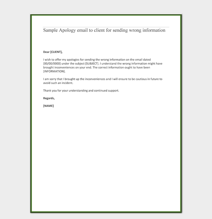 Sample Apology email to client for sending wrong information