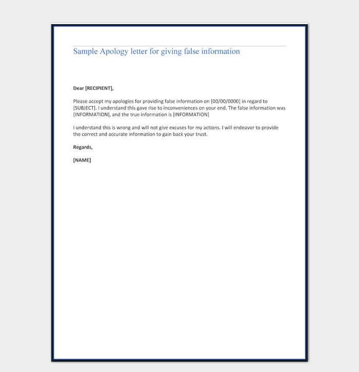 Sample Apology letter for giving false information