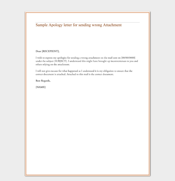 Sample Apology letter for sending wrong Attachment