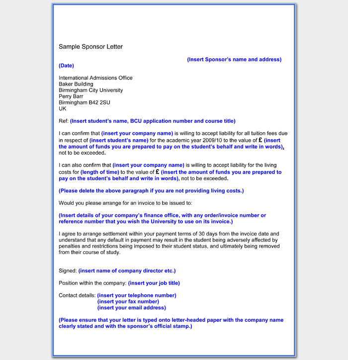 Sample Company Sponsorship Letter For Student Word Format Download