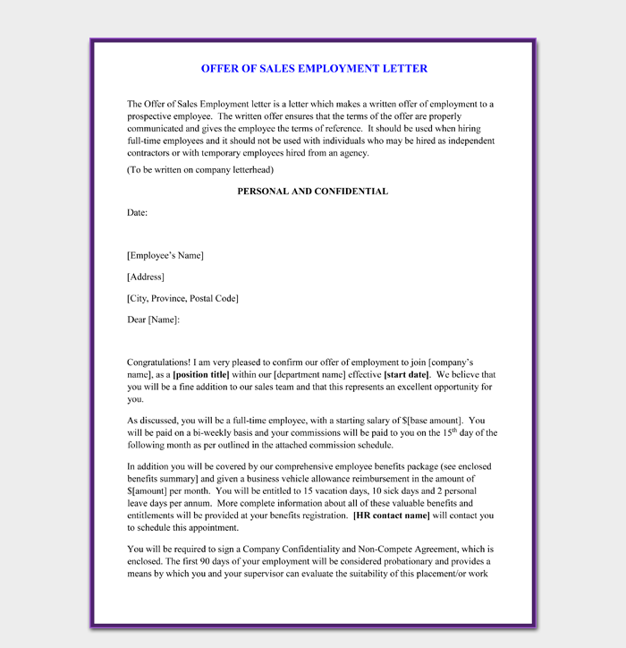 Sample Employment Sales Offer Letter Template Free PDF Format