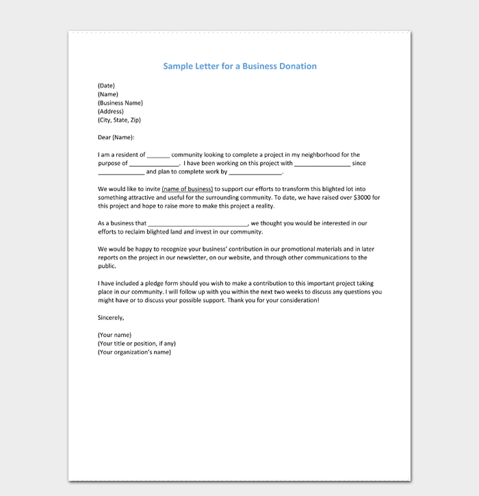 Sample Letter for a Business Donation