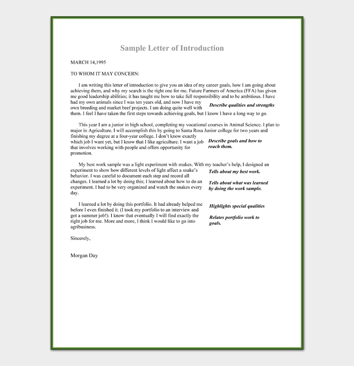 Sample Letter of Introduction For High School Students