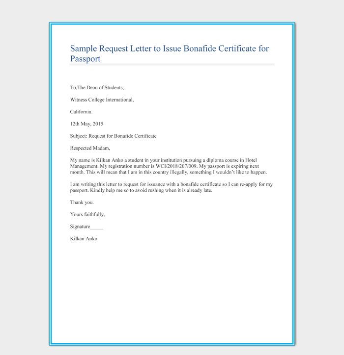Sample Request Letter to Issue Bonafide Certificate for Passport