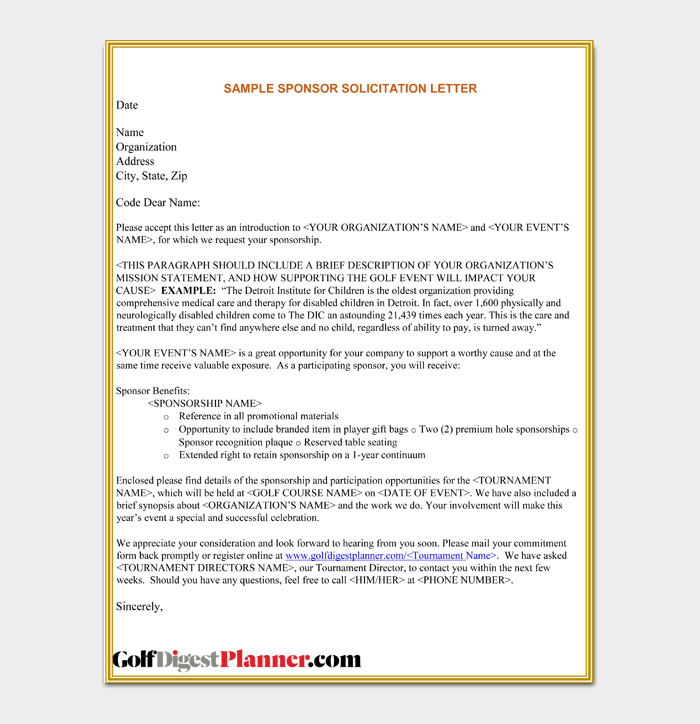 Sample Solicitation Letter for Food Sponsorship Free PDF