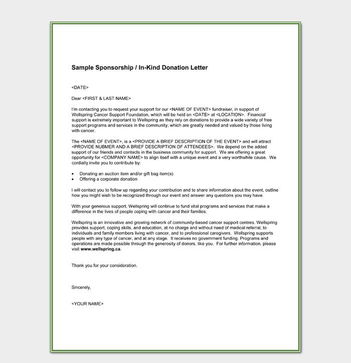Sample Sponsorship In Kind Donation Letter