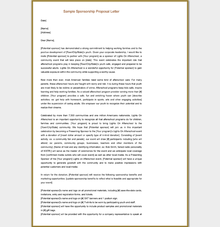 Sample Sponsorship Proposal Letter for Events Word Doc