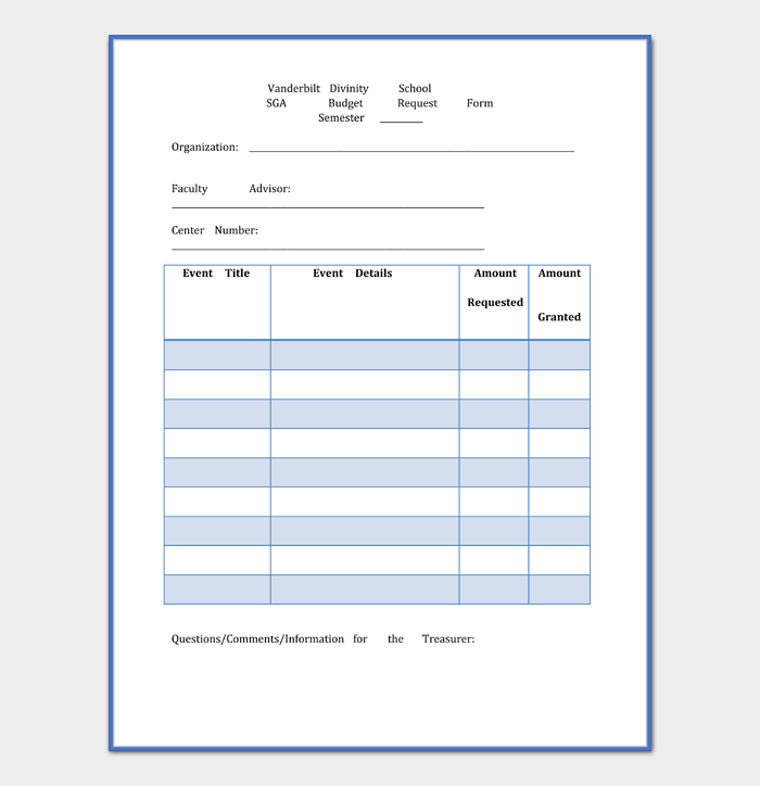 School Budget Request Form