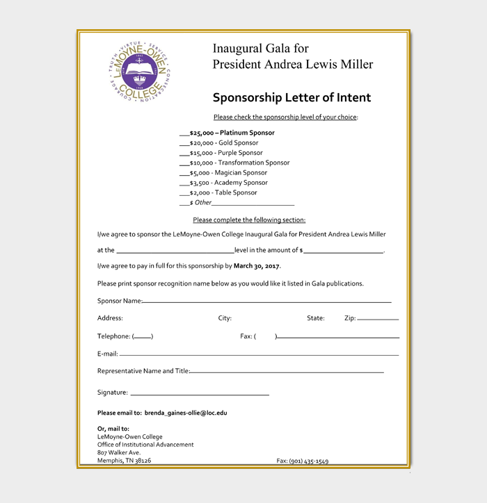Sponsorship Letter of Intent
