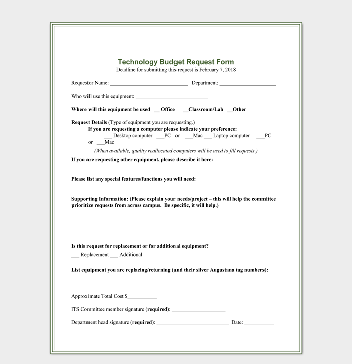 Technology Budget Request Form Template