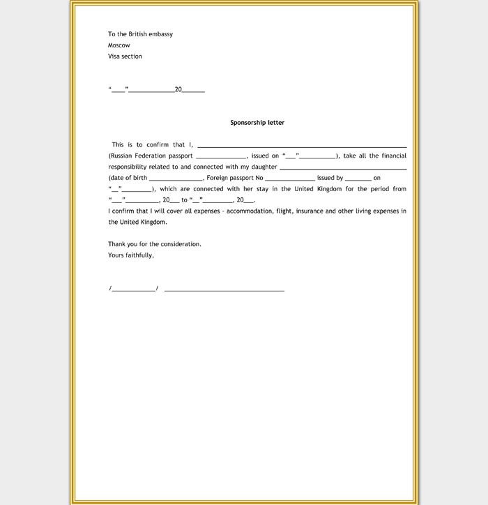 Template for Visa Sponsorship Letter