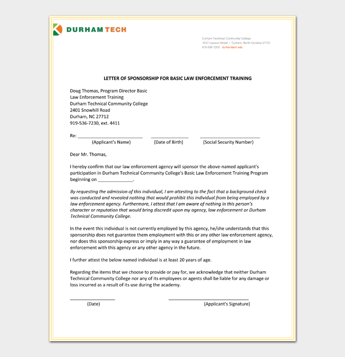 Training Sponsorship Letter