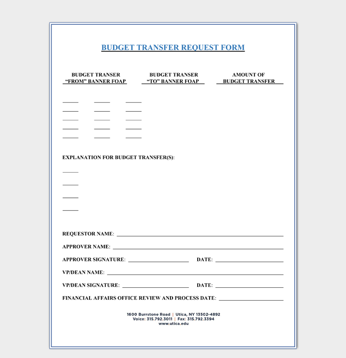 Transfer Budget Request Form