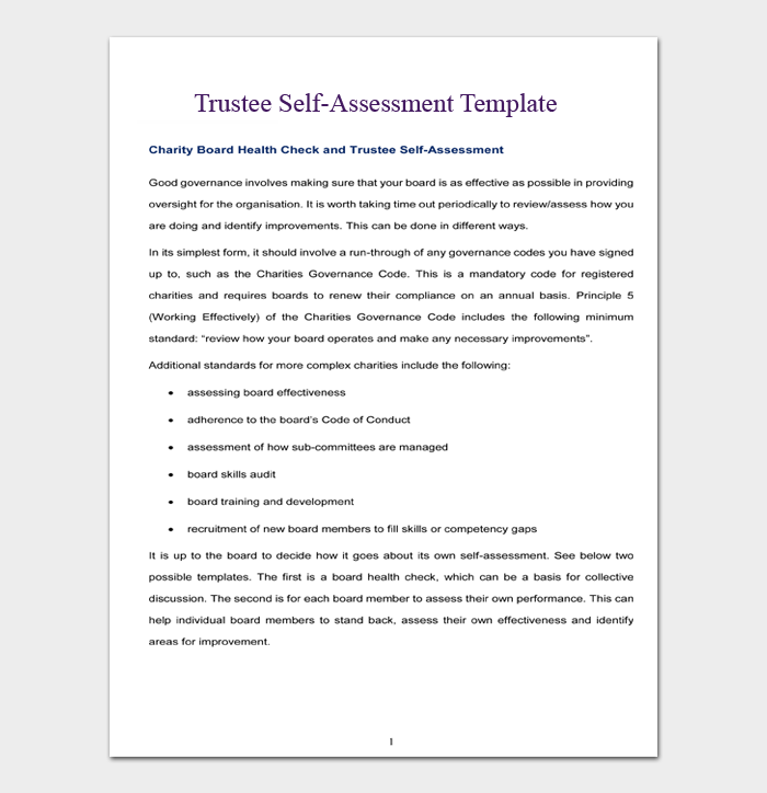 Trustee Self Assessment Template