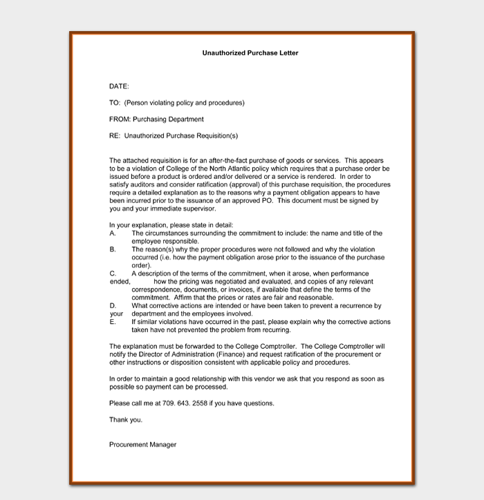Unauthorised Purchase Order Letter Template