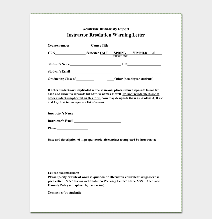 Warning-Letter-to-Student-Format Sample Application Letter For Car Loan on between friends, contract agreement, pay off confirmation, payment agreement, officer introduction, agreement template, repayment agreement, processor cover, interest for,