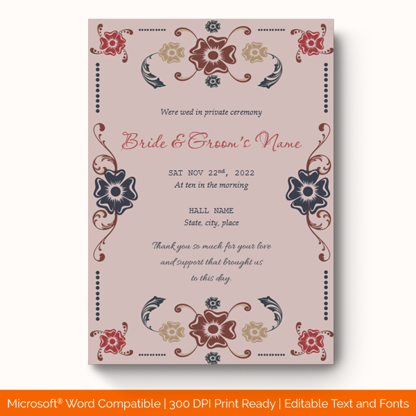 Wedding Announcement Template Purple Printable preview