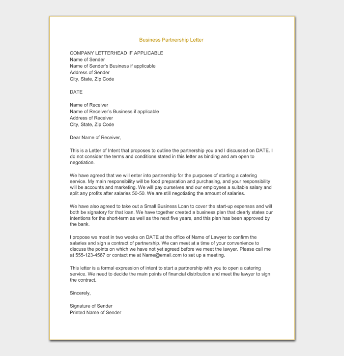 Writing a Business Partnership Letter of Intent Printable1