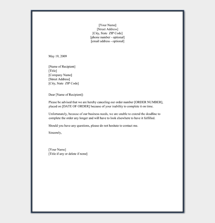 cancellation of order letter