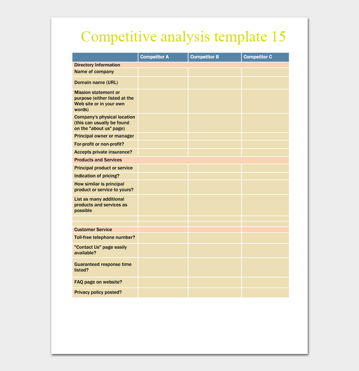 competitive analysis template 15