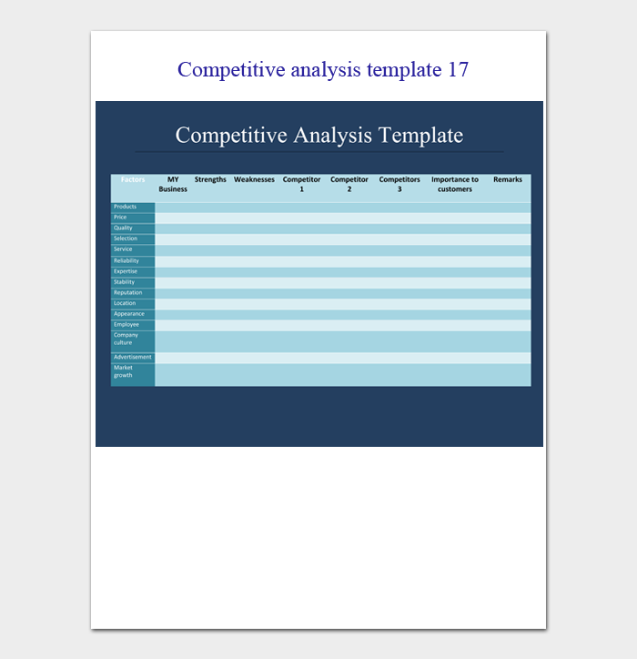 competitive analysis template 17