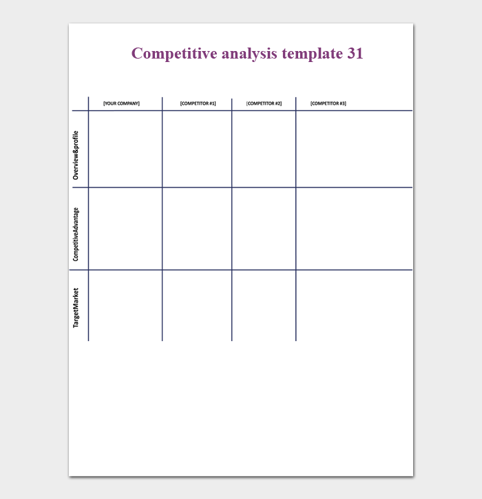 competitive analysis template 31