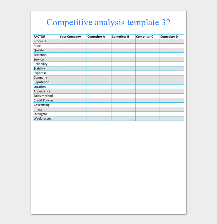 competitive analysis template 32