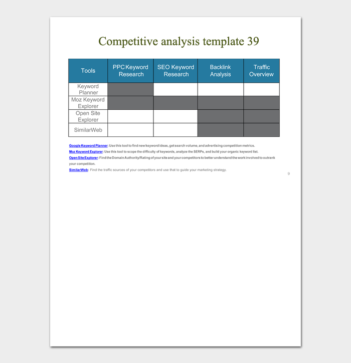 competitive analysis template 39