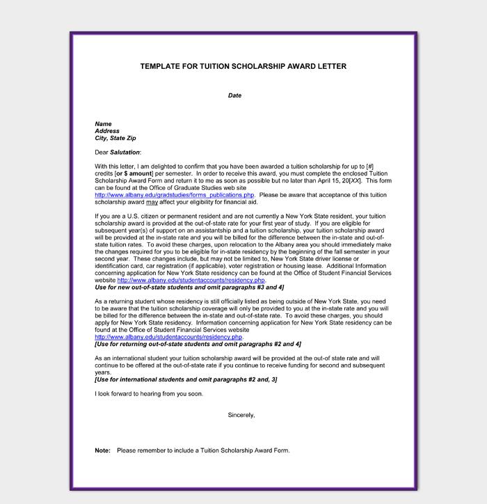 congratulations letter for scholarship award