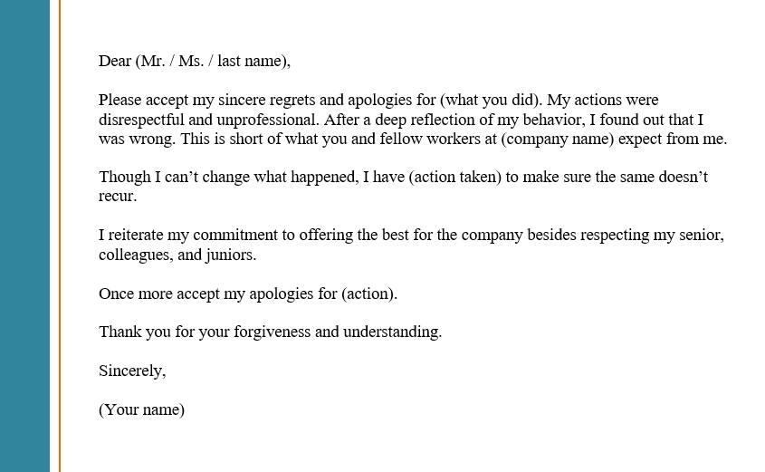Apology Letter to Boss or work Template