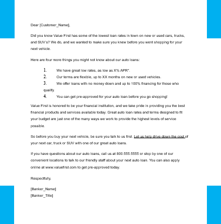 Car loan application letter sample