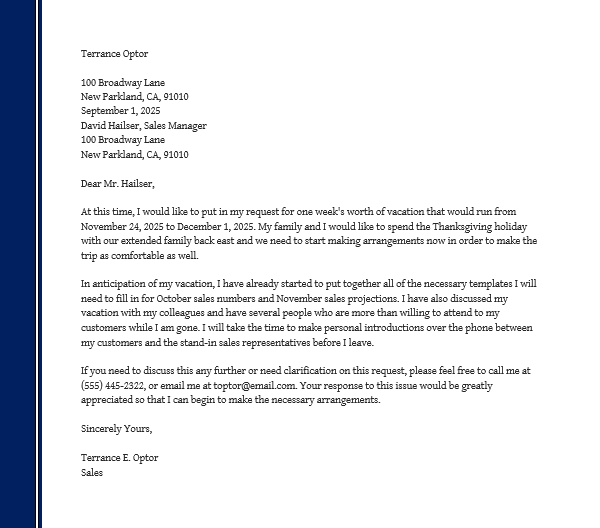 Holiday Request Letter (Sample Template)