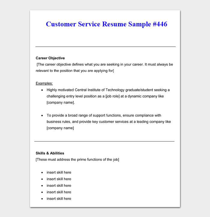 free 16  customer service resume templates  u0026 examples