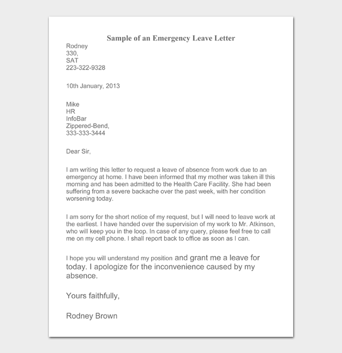 Sample Letter Of Absence From Work from images.docformats.com