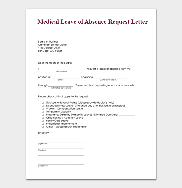 Request Leave Of Absence Letter from images.docformats.com