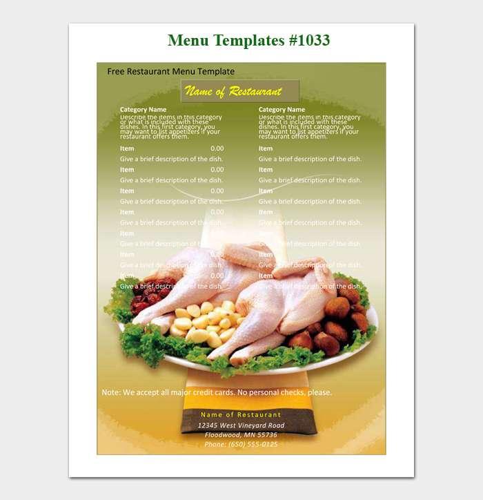28 Free Restaurant Menu Templates With Creative Designs Word Pdf