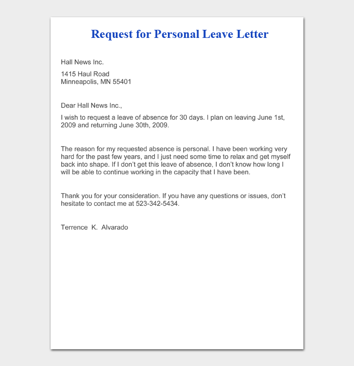 How To Write A Leave Letter 29 Sample Letters For Work School Purshology