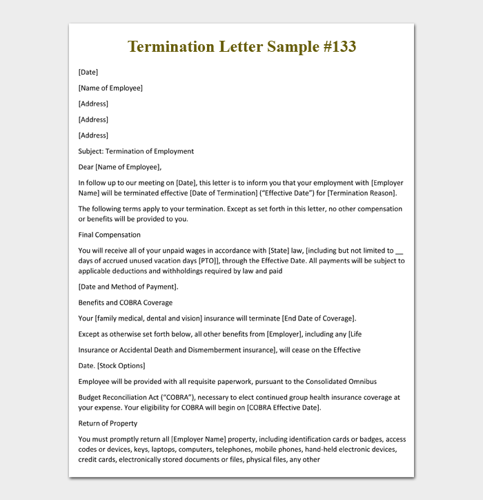 Health Insurance Termination Letter To Employee from images.docformats.com
