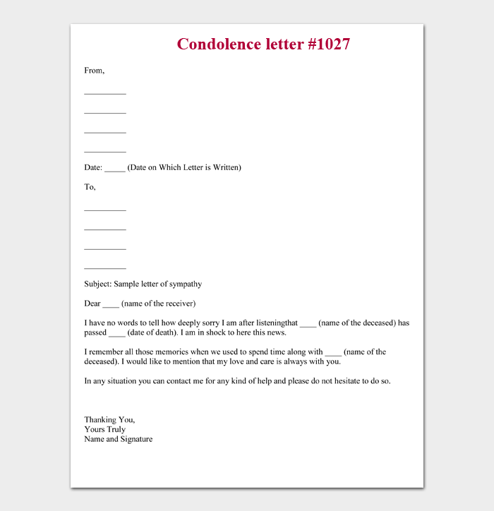 Sample Of Sympathy Letter from images.docformats.com