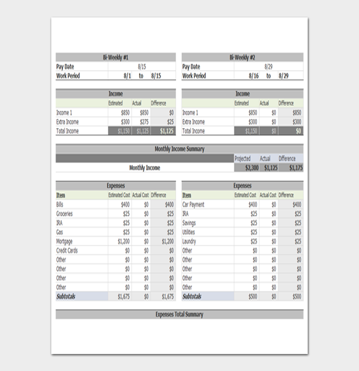 Weekly Personal Budget Template from images.docformats.com