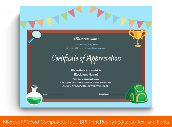 17 Certificate Of Appreciation For Student Templates Editable Printable