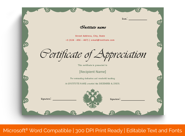 Certificate Of Appreciation Word Template from images.docformats.com